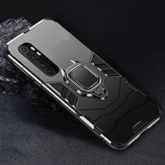 Coque Contour Silicone et Plastique Housse Etui Mat avec Magnetique Support Bague Anneau pour Xiaomi Mi Note 10 Lite Noir