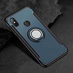 Coque Contour Silicone et Plastique Housse Etui Mat avec Magnetique Support Bague Anneau pour Xiaomi Redmi 6 Pro Bleu