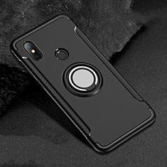Coque Contour Silicone et Plastique Housse Etui Mat avec Magnetique Support Bague Anneau pour Xiaomi Redmi 6 Pro Noir