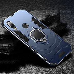 Coque Contour Silicone et Plastique Housse Etui Mat avec Magnetique Support Bague Anneau pour Xiaomi Redmi 7 Bleu