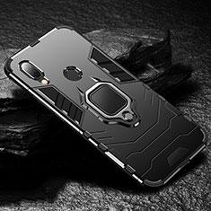 Coque Contour Silicone et Plastique Housse Etui Mat avec Magnetique Support Bague Anneau pour Xiaomi Redmi 7 Noir