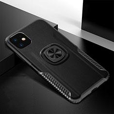 Coque Contour Silicone et Plastique Housse Etui Mat avec Magnetique Support Bague Anneau R01 pour Apple iPhone 11 Noir