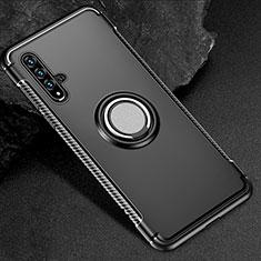 Coque Contour Silicone et Plastique Housse Etui Mat avec Magnetique Support Bague Anneau R01 pour Huawei Honor 20 Noir