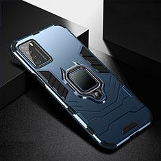 Coque Contour Silicone et Plastique Housse Etui Mat avec Magnetique Support Bague Anneau R01 pour Huawei Honor Play4 5G Bleu
