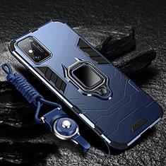Coque Contour Silicone et Plastique Housse Etui Mat avec Magnetique Support Bague Anneau R01 pour Huawei Honor X10 Max 5G Bleu
