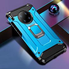 Coque Contour Silicone et Plastique Housse Etui Mat avec Magnetique Support Bague Anneau R01 pour Huawei Mate 30 5G Bleu