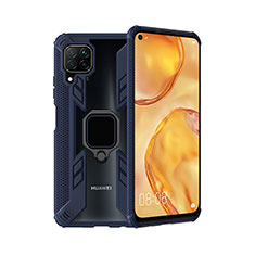 Coque Contour Silicone et Plastique Housse Etui Mat avec Magnetique Support Bague Anneau R01 pour Huawei Nova 6 SE Bleu