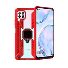Coque Contour Silicone et Plastique Housse Etui Mat avec Magnetique Support Bague Anneau R01 pour Huawei Nova 7i Rouge
