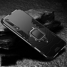 Coque Contour Silicone et Plastique Housse Etui Mat avec Magnetique Support Bague Anneau R01 pour Huawei P20 Pro Noir