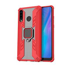 Coque Contour Silicone et Plastique Housse Etui Mat avec Magnetique Support Bague Anneau R01 pour Huawei P30 Lite Rouge