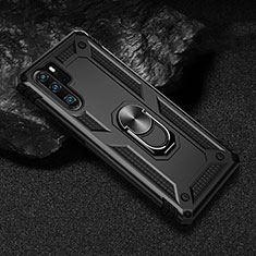 Coque Contour Silicone et Plastique Housse Etui Mat avec Magnetique Support Bague Anneau R01 pour Huawei P30 Pro Noir