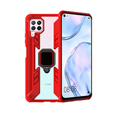 Coque Contour Silicone et Plastique Housse Etui Mat avec Magnetique Support Bague Anneau R01 pour Huawei P40 Lite Rouge