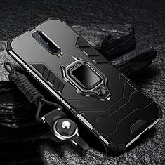 Coque Contour Silicone et Plastique Housse Etui Mat avec Magnetique Support Bague Anneau R01 pour OnePlus 8 Noir