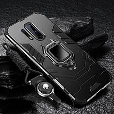 Coque Contour Silicone et Plastique Housse Etui Mat avec Magnetique Support Bague Anneau R01 pour OnePlus 8 Pro Noir