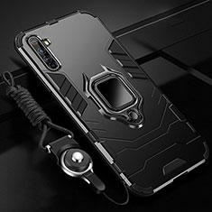 Coque Contour Silicone et Plastique Housse Etui Mat avec Magnetique Support Bague Anneau R01 pour Realme X50 Pro 5G Noir