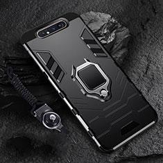 Coque Contour Silicone et Plastique Housse Etui Mat avec Magnetique Support Bague Anneau R01 pour Samsung Galaxy A80 Noir