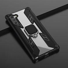 Coque Contour Silicone et Plastique Housse Etui Mat avec Magnetique Support Bague Anneau R01 pour Samsung Galaxy Note 10 5G Noir