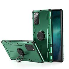 Coque Contour Silicone et Plastique Housse Etui Mat avec Magnetique Support Bague Anneau R01 pour Samsung Galaxy Note 20 5G Vert