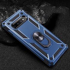 Coque Contour Silicone et Plastique Housse Etui Mat avec Magnetique Support Bague Anneau R01 pour Samsung Galaxy S10 Bleu