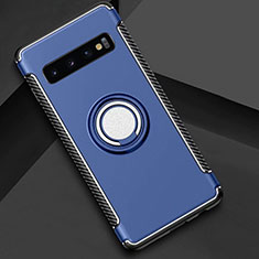 Coque Contour Silicone et Plastique Housse Etui Mat avec Magnetique Support Bague Anneau R01 pour Samsung Galaxy S10 Plus Bleu