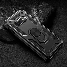 Coque Contour Silicone et Plastique Housse Etui Mat avec Magnetique Support Bague Anneau R01 pour Samsung Galaxy S10e Noir