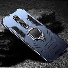 Coque Contour Silicone et Plastique Housse Etui Mat avec Magnetique Support Bague Anneau R01 pour Xiaomi Mi 9T Pro Bleu