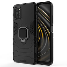 Coque Contour Silicone et Plastique Housse Etui Mat avec Magnetique Support Bague Anneau R01 pour Xiaomi Poco M3 Noir