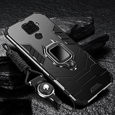 Coque Contour Silicone et Plastique Housse Etui Mat avec Magnetique Support Bague Anneau R01 pour Xiaomi Redmi 10X 4G Noir