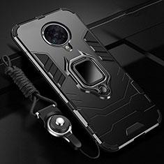 Coque Contour Silicone et Plastique Housse Etui Mat avec Magnetique Support Bague Anneau R01 pour Xiaomi Redmi K30 Pro 5G Noir