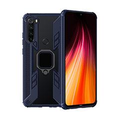 Coque Contour Silicone et Plastique Housse Etui Mat avec Magnetique Support Bague Anneau R01 pour Xiaomi Redmi Note 8T Bleu
