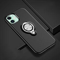 Coque Contour Silicone et Plastique Housse Etui Mat avec Magnetique Support Bague Anneau R02 pour Apple iPhone 11 Noir