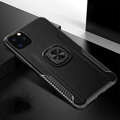 Coque Contour Silicone et Plastique Housse Etui Mat avec Magnetique Support Bague Anneau R02 pour Apple iPhone 11 Pro Max Noir