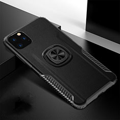 Coque Contour Silicone et Plastique Housse Etui Mat avec Magnetique Support Bague Anneau R02 pour Apple iPhone 11 Pro Noir