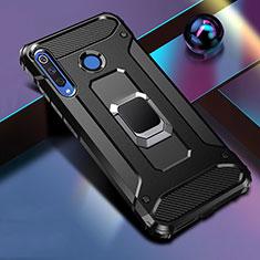 Coque Contour Silicone et Plastique Housse Etui Mat avec Magnetique Support Bague Anneau R02 pour Huawei P30 Lite Noir