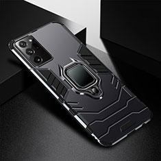 Coque Contour Silicone et Plastique Housse Etui Mat avec Magnetique Support Bague Anneau R02 pour Samsung Galaxy Note 20 Ultra 5G Noir