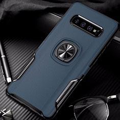 Coque Contour Silicone et Plastique Housse Etui Mat avec Magnetique Support Bague Anneau R02 pour Samsung Galaxy S10 Bleu
