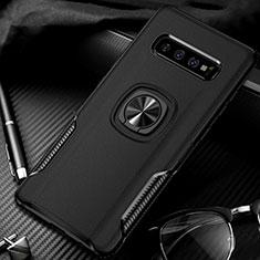 Coque Contour Silicone et Plastique Housse Etui Mat avec Magnetique Support Bague Anneau R02 pour Samsung Galaxy S10 Plus Noir