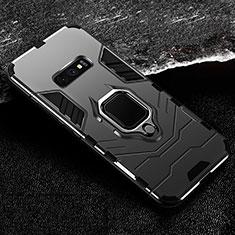 Coque Contour Silicone et Plastique Housse Etui Mat avec Magnetique Support Bague Anneau R02 pour Samsung Galaxy S10e Noir