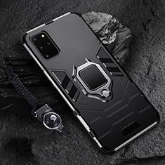 Coque Contour Silicone et Plastique Housse Etui Mat avec Magnetique Support Bague Anneau R02 pour Samsung Galaxy S20 Plus Noir