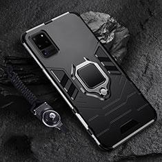 Coque Contour Silicone et Plastique Housse Etui Mat avec Magnetique Support Bague Anneau R02 pour Samsung Galaxy S20 Ultra 5G Noir