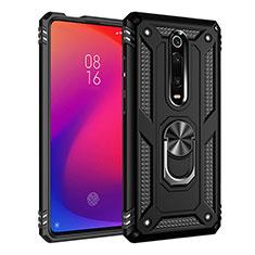 Coque Contour Silicone et Plastique Housse Etui Mat avec Magnetique Support Bague Anneau R02 pour Xiaomi Mi 9T Pro Noir