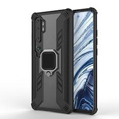 Coque Contour Silicone et Plastique Housse Etui Mat avec Magnetique Support Bague Anneau R02 pour Xiaomi Mi Note 10 Noir