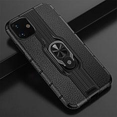 Coque Contour Silicone et Plastique Housse Etui Mat avec Magnetique Support Bague Anneau R03 pour Apple iPhone 11 Noir
