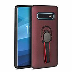 Coque Contour Silicone et Plastique Housse Etui Mat avec Magnetique Support Bague Anneau R03 pour Samsung Galaxy S10 Marron