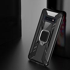 Coque Contour Silicone et Plastique Housse Etui Mat avec Magnetique Support Bague Anneau R03 pour Samsung Galaxy S10e Noir