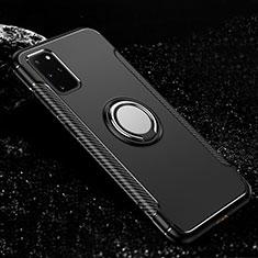 Coque Contour Silicone et Plastique Housse Etui Mat avec Magnetique Support Bague Anneau R03 pour Samsung Galaxy S20 Plus Noir