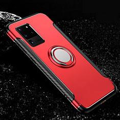 Coque Contour Silicone et Plastique Housse Etui Mat avec Magnetique Support Bague Anneau R03 pour Samsung Galaxy S20 Ultra 5G Rouge