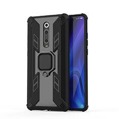 Coque Contour Silicone et Plastique Housse Etui Mat avec Magnetique Support Bague Anneau R03 pour Xiaomi Mi 9T Pro Noir