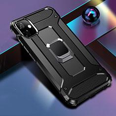 Coque Contour Silicone et Plastique Housse Etui Mat avec Magnetique Support Bague Anneau R04 pour Apple iPhone 11 Noir