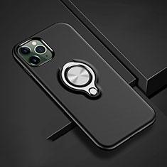 Coque Contour Silicone et Plastique Housse Etui Mat avec Magnetique Support Bague Anneau R04 pour Apple iPhone 11 Pro Max Noir